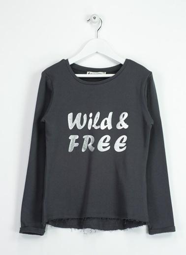 Asymmetry Varak Baskılı Sweatshirt Antrasit
